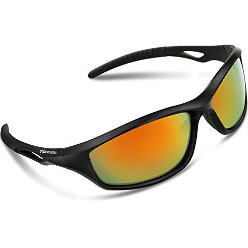 Torege スポーツサングラス 偏光レンズ 超軽量 TR90 UV400 紫外線カット サングラス/ 自転車/釣り/野球/テニス/スキー/ランニング/ゴルフ/ドライブ 運動メガネTRG010 (ブラック&虹 レンズ)