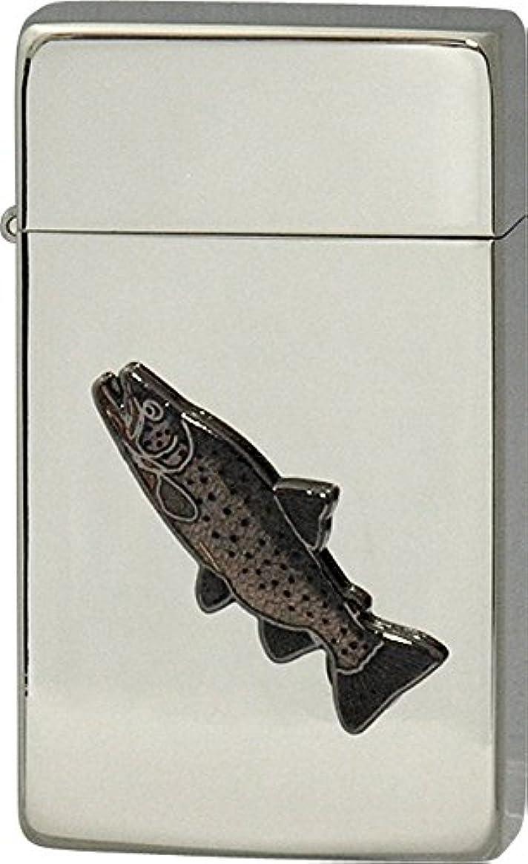 謝罪する相談起きてSAROME(サロメ) ガス ライター SRM 釣り 魚 シリーズ ブラウントラウト シルバー 700155