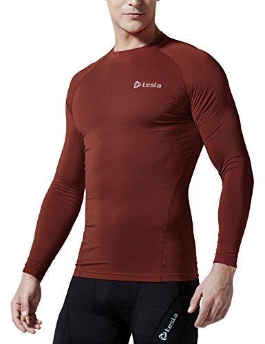 Tesla Men 's mesh-side-backパネル長袖Tシャツ圧縮ベースレイヤーmud71/ tud101/ r11/ r19 XS