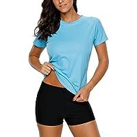 Charmo Women's Short Sleeve UV Rash Vest Surf Sports Rash Guard Shirts Swimwear