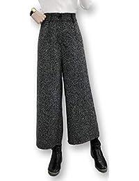 [モノリリ] レディース ワイド ガウチョ パンツ 4色展開 (ブラック、グレー、ライトグレー、チェック)