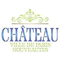 Chateauステンシル–再利用可能なヴィンテージフランスワインテーマWord forステンシル壁ペイント–使用on Paperプロジェクトスクラップブックジャーナル壁床ファブリック家具ガラス木製etc。 L