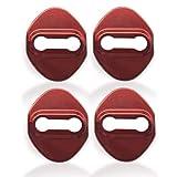 YAOFAO ドアストライカーカバー ドアロックカバー 4p トヨタ スズキ ホンダ ダイハツ など多くの車種対応 ステンレス キラキラ 3色選択 (レッド)