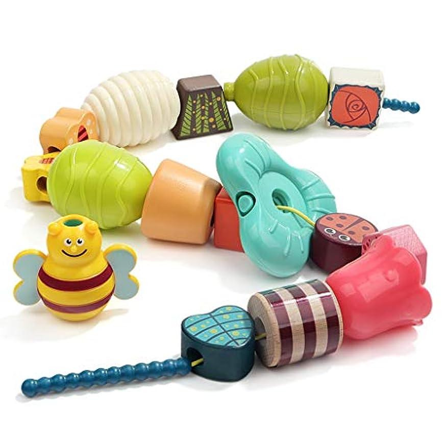 酒血色の良い登る就学前の少年 用木製レーシングビーズおよび上記3歳児の子供、ファインモータースキルのおもちゃのための文字列 (色 : Multi-colored)