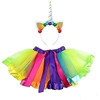 Toyvian Girls Unicorn Costume Unicorn Horn Headband Layered Rainbow Tutu Skirt Little Girls Rainbow Costume Party Fancy Dress (White Horn)