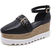 Women's Sandals New 2019 Platform Shoes PU Wedge Shoes Belt Buckle Slingback Non-Slip Casual Shoes Black Brown,Black,37