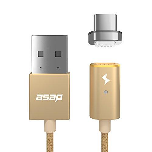 asap X-Connect USB Type-C用 マグネット式 充電ケーブル (Androidスマホ Xperia等 最新規格 ) 1.2mケーブルセット 【国内正規品】 (ゴールド)