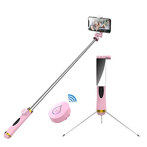 自撮り棒 スマホ セルカ棒 三脚 付き iphone Android 対応 bluetooth 無線 ワイヤレス リモコン シャッター付き 軽量 バックミラー付き 360度回転 (ピンク)