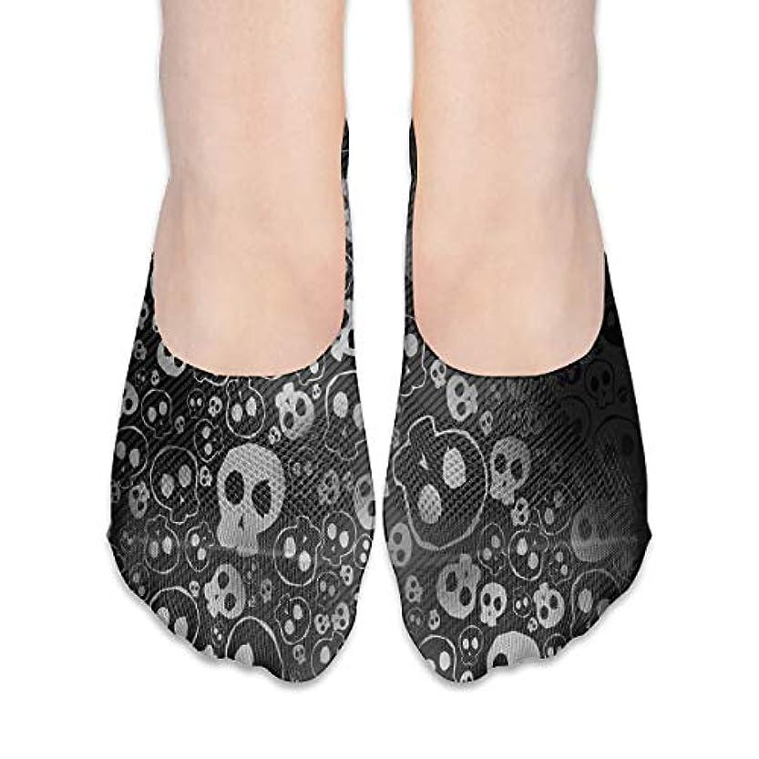 拒絶円形テレビ局黒と白の頭蓋骨表示なし靴下女性ボートシューズローファーソックス、滑り止めグリップ