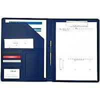 PU レザー 製 多機能 クリップボード A4 サイズ 書類 フォルダ バインダー 名刺 カード ポケット ペン ホルダー 搭載 C (ブルー)