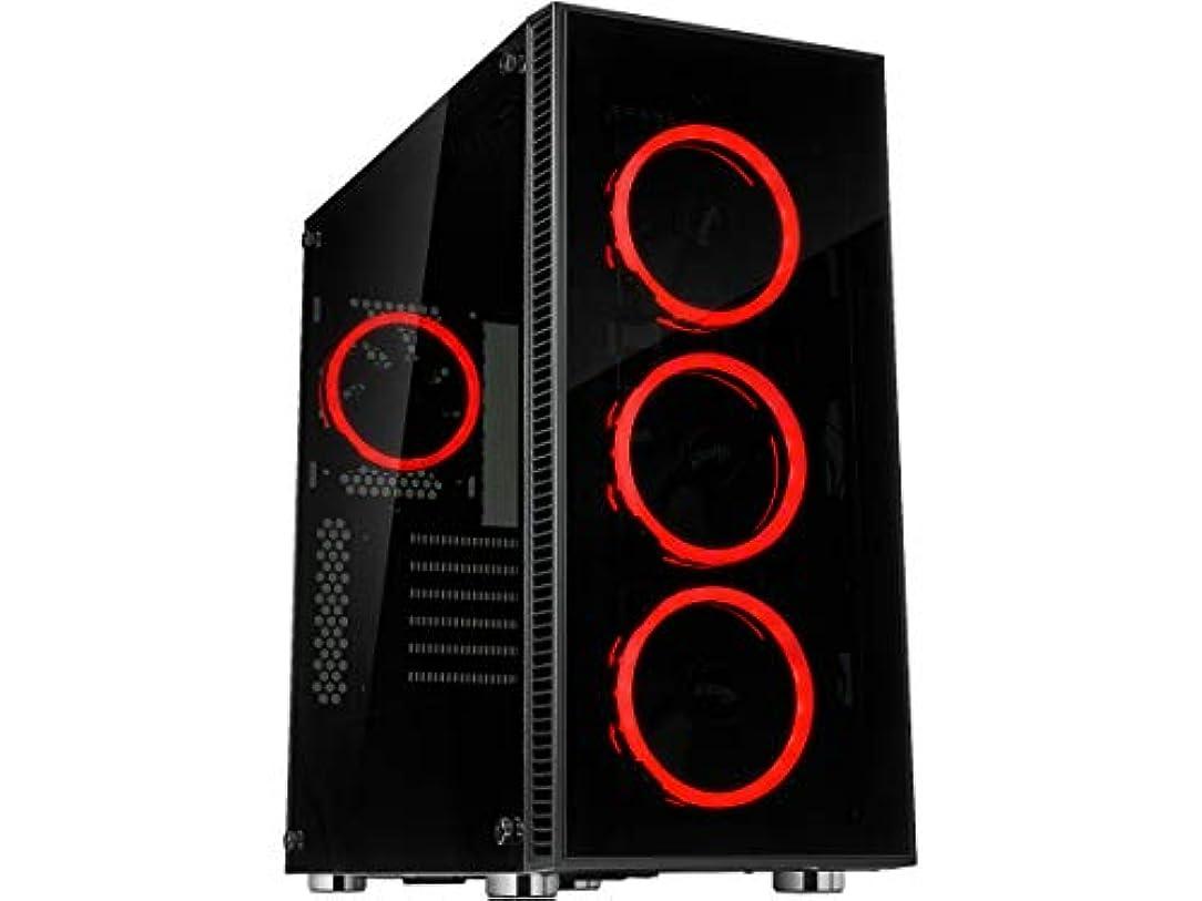 脳大邸宅構造的(カルリナ) CULLINAN V500デュアルリング付きATXミッドタワー ゲームPCコンピューターケース レッドLEDファン 360mm水冷ラジエーターサポート 強化ガラスとスチール USB 3.0 CULLINAN V500レッド