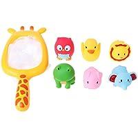Chone 1set赤ちゃん浴槽おもちゃ、Pick Up Duck &魚Kids Bath Toy、夏再生水Bathおもちゃ教育玩具( 1pc釣りNet、6個動物おもちゃ) S イエロー 7HH900296