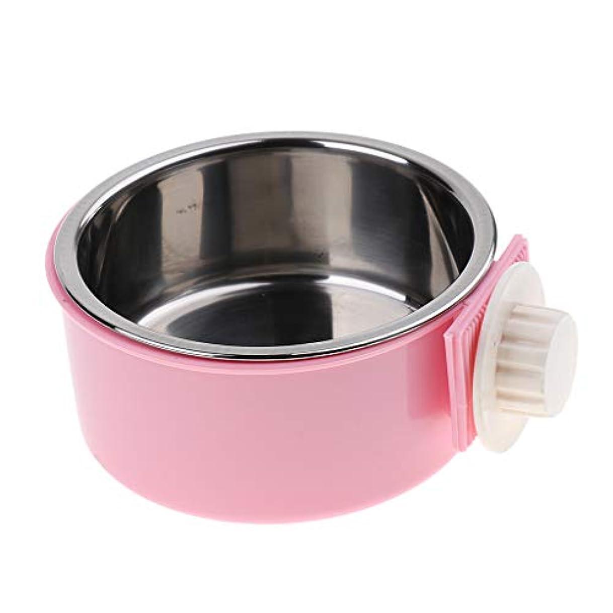 旧正月睡眠儀式Fenteer 取り外し可能 水 食品 フィーダボウル ケージ コップ カップ クレート 犬 猫 ボウル 2色選べる - ピンク