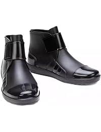 (PlaisteL) メンズ レインブーツ 防水 軽量 ショート シューズ シンプル カジュアル ビジネス 作業 靴 にも