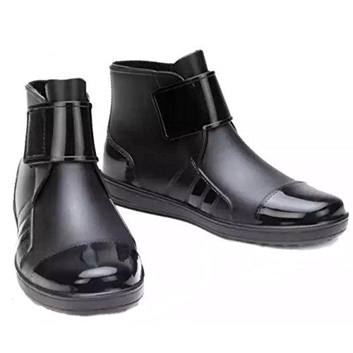 (PlaisteL) メンズ レインブーツ ショート (ブラック 25.5cm) 雨靴 くつ 長靴 おしゃれ アウトドア 洗車長靴 つり バイク シューズ マリン ブーツ めんず しゅーず バイク用 防水 シューズカバー 雨用 レインスニーカー 黒 25.5