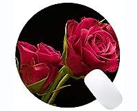 長方形の丸いマウスパッド、ピンクの花のバラの花 - ステッチエッジ