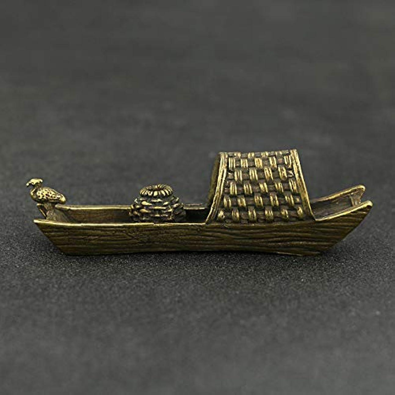 六月つぶやき不機嫌そうな釣り船ブラケット真鍮香炉ブラケットホームデコレーションクラフトギフトバーナー香スティックフレーム真鍮10 * 3 cm
