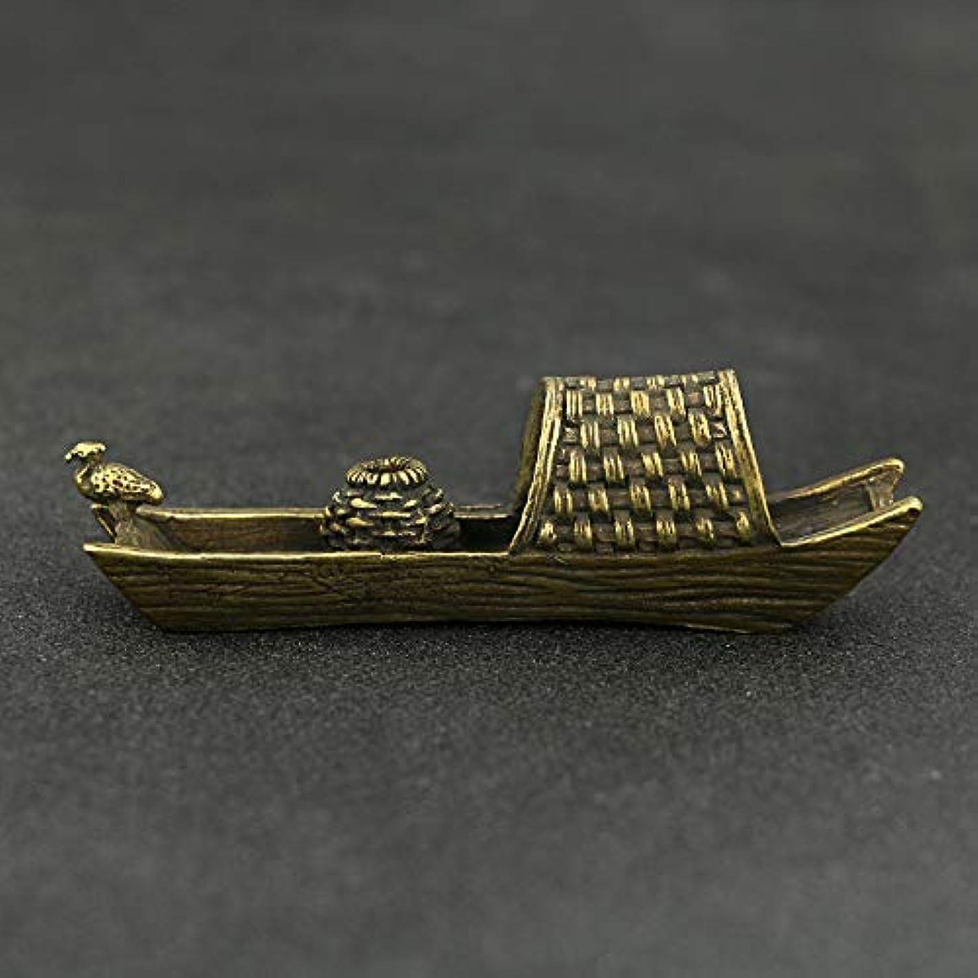 反乱こする廊下釣り船ブラケット真鍮香炉ブラケットホームデコレーションクラフトギフトバーナー香スティックフレーム真鍮10 * 3 cm