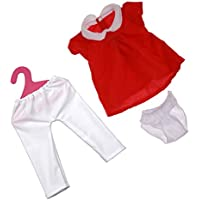 Lovoski レッド ワンピース 半袖ドレス ホワイトパンツ 衣装 洋服 18インチ アメリカンガールドール適用 3件