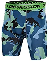 スポーツタイツ コンプレッションショーツ ショート スパッツ タイツ メンズ 加圧 パワーストレッチ 吸汗速乾 伸縮性 通気性 blue-M