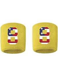 # 8刺繍/ステッチ汗止めバンドリストバンドイエローゴールドSweat Band w / USAアメリカ国旗数( 2パック)