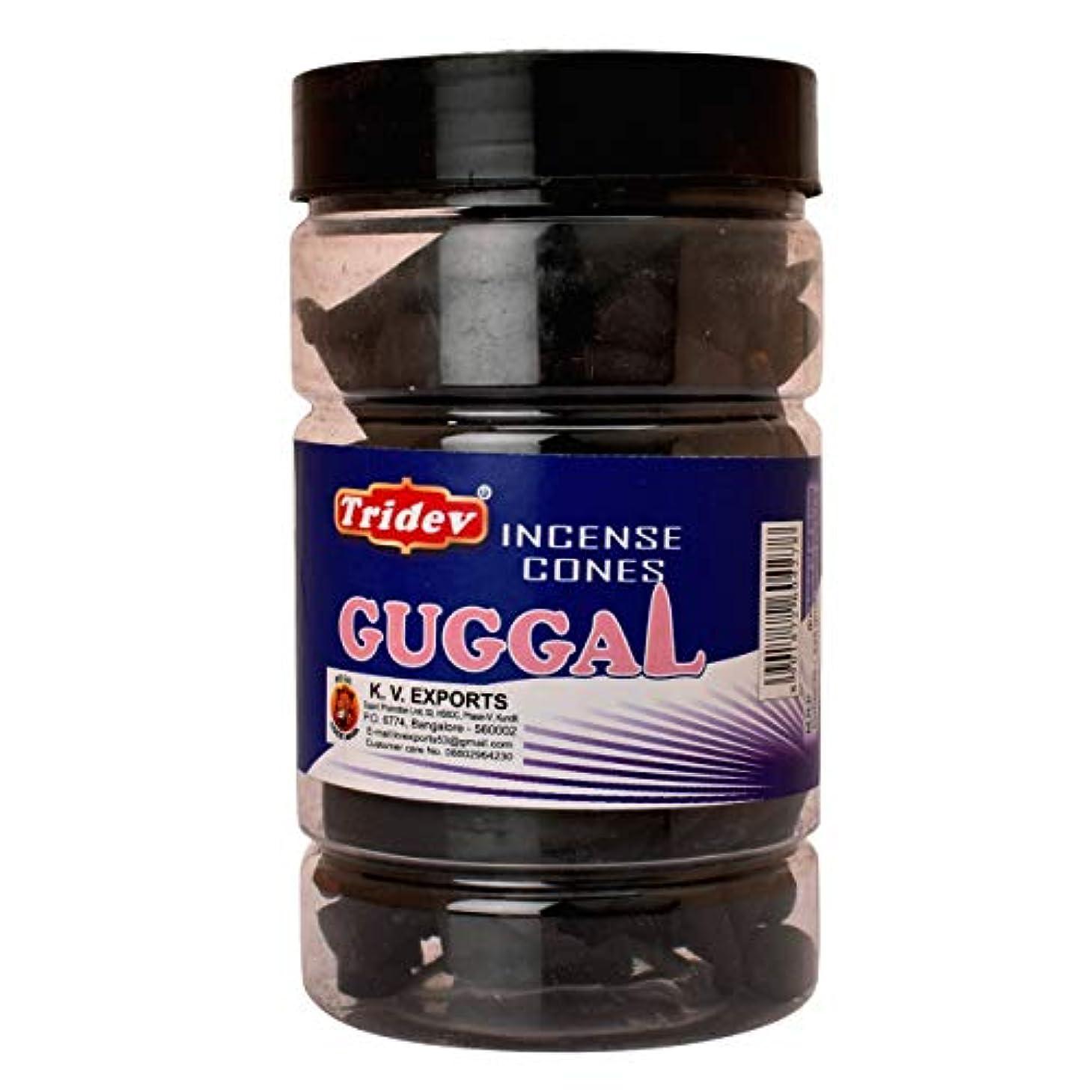 ヒューズフロンティア失望Tridev Guggal Incense Cones Jar 225グラムパック