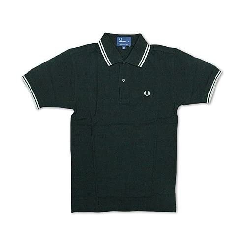 フレッドペリー FRED PERRY M1200 半袖ポロシャツ ブラック/ライトグレー (TWIN TIPPED) M