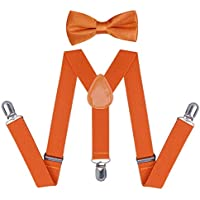 WELROG Orange Suspender Bow Tie Sets - Adjustable Braces With Bowtie for Kids and Adults
