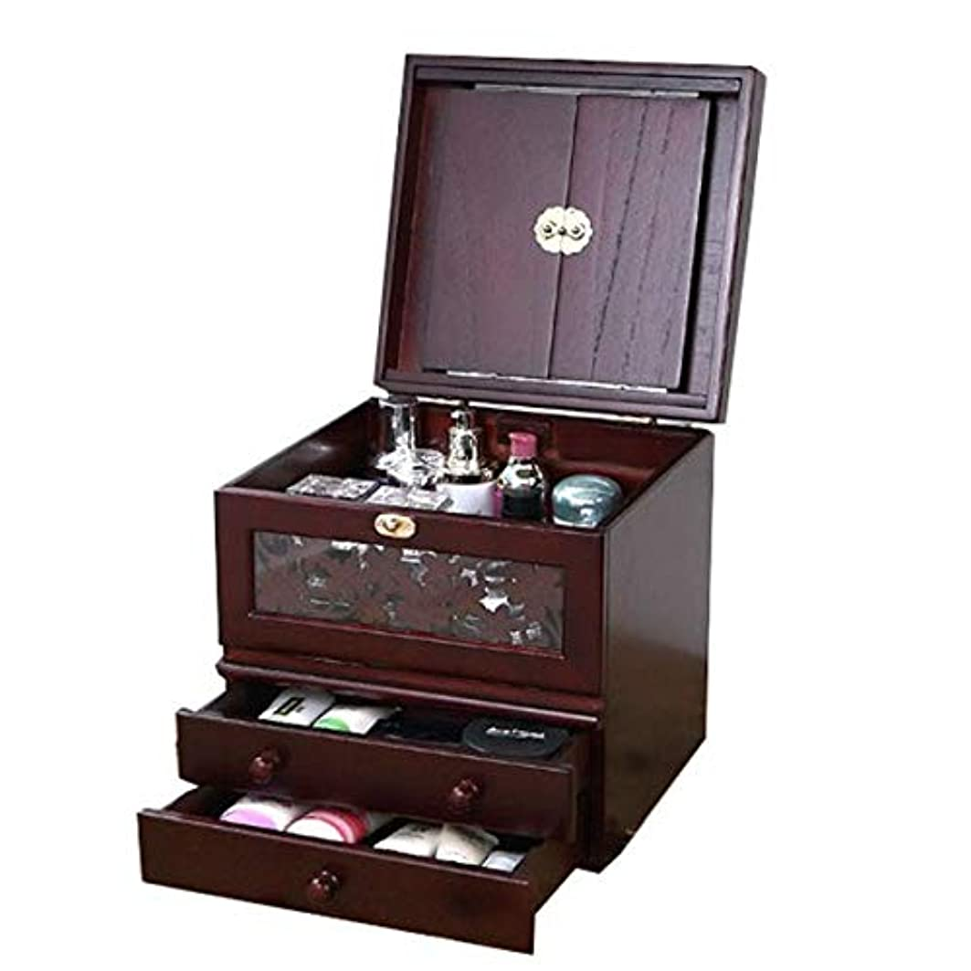 パット怪物興奮化粧箱、ミラー付きヴィンテージ木製化粧品ケースの3層、ハイエンドの結婚祝い、新築祝いのギフト、美容ネイルジュエリー収納ボックス