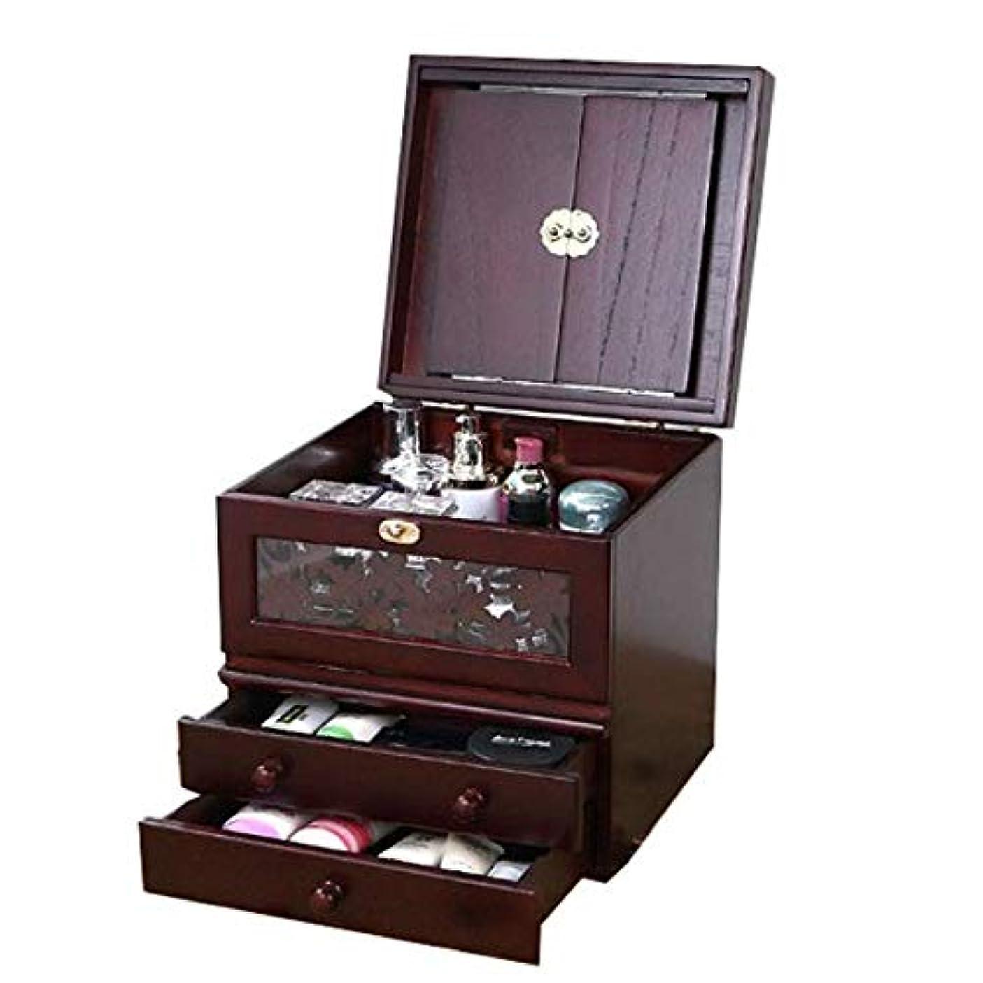 化粧箱、ミラー付きヴィンテージ木製化粧品ケースの3層、ハイエンドの結婚祝い、新築祝いのギフト、美容ネイルジュエリー収納ボックス