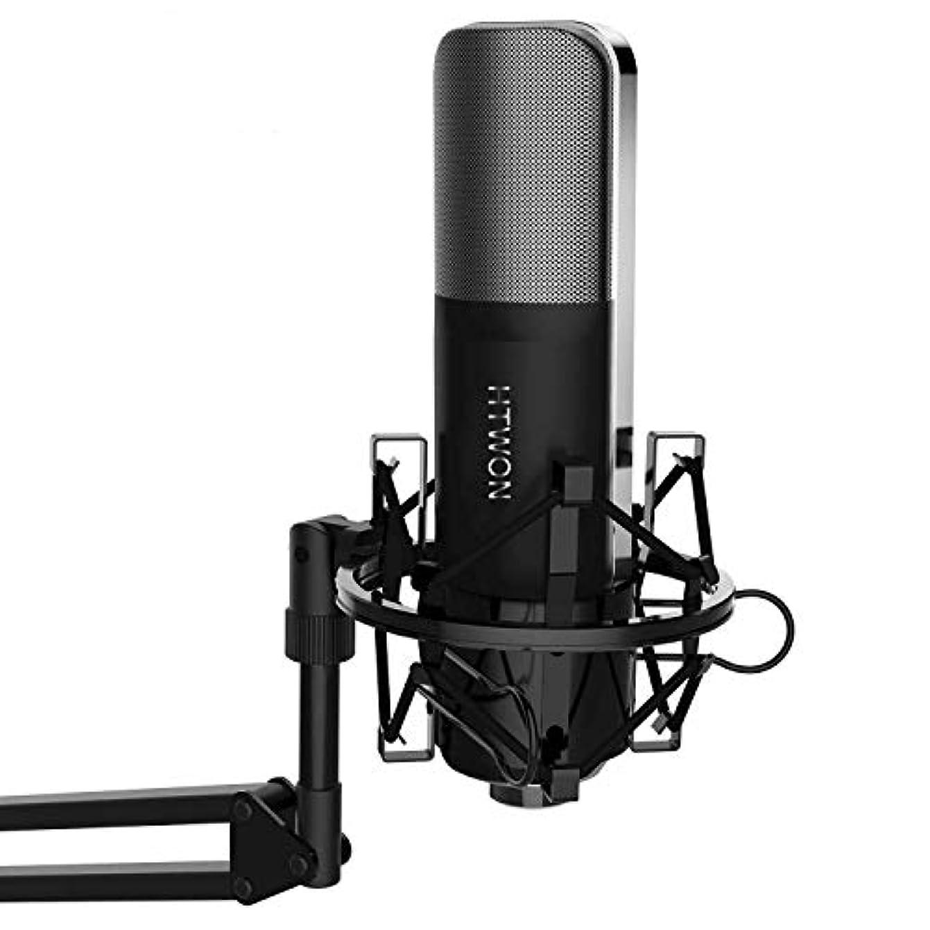 飢饉受粉するコンソールHtwon コンデンサーマイク 集音マイク 単一指向性 スタジオ レコーディング 高音質 録音 宅録 ゲーム実況 生放送 3.5mm プラグインパワー PC用 マイクロホン Q8