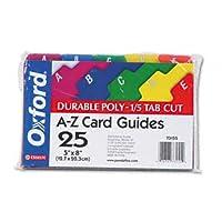 オックスフォード® Durable Poly A - Zカードガイドガイド、インデックス、5x 8, Asst (パックof10)