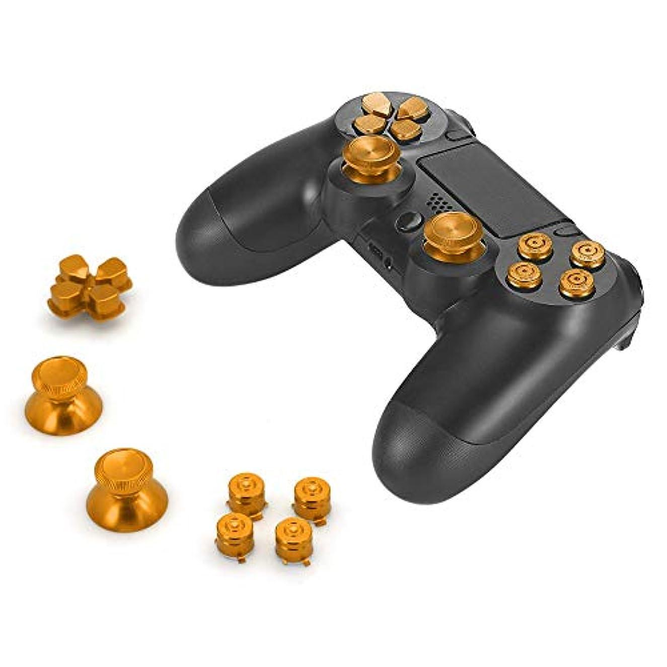 会計パーチナシティ発表Gaoominy アルミ合金ボタン帽子サムスティックスペアパーツアクセサリー、 4 Dualshoコントローラ用(ゴールド)