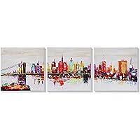 Asmork 近代美術ランドスケープ 油彩画 ニューヨーク港 100%手描き 油彩画壁のデコレーションキャンバス絵画抽象芸術作品‐最高のプレゼント リビング、ダイニング、寝室、お風呂、オフィス、バー、30*30cm*3pcs