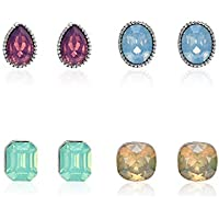 FIGHTINGV5 4 Pairs Earrings Set Women Girls Resin Oval Round Ear Jewelry Set Wedding Engagement Earrings Kit