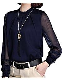 (サコイユ) sakoiyu ブラウス レディース シースルー 長袖 おしゃれ シフォン フォーマル Ḿ~3XL 黒 白 紺