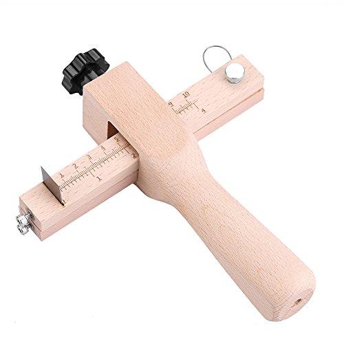 ストラップカッター 木製 レザーカットツール 調節可能 革工具 レザーベルトカッター DIY ハンドクラフトカッター 5ブレード