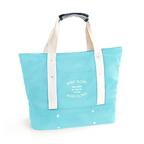 (xixige)マザーズバッグ 旅行バッグ 多機能 トートバッグ 大容量 手提げ バック 軽量 スポーツバッグ インナーポチ付き 靴収納 二層式 (ブルー)