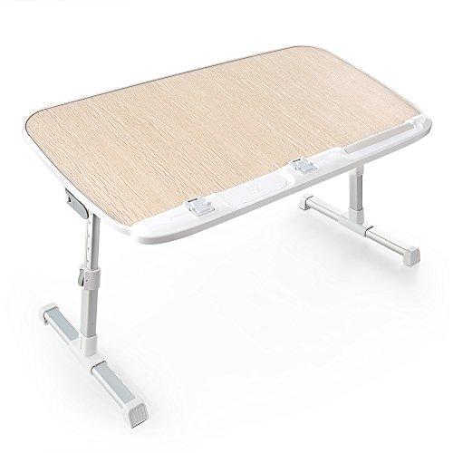 TaoTronics 折りたたみ式 ラップトップテーブル 高さ調整可能 ベッドテーブル 読書のための広いスタンディングテーブル イス脚収納可能 ソファーデスク 食事トレイ 多彩な用途の折りたたみ式テーブル TT-SD003