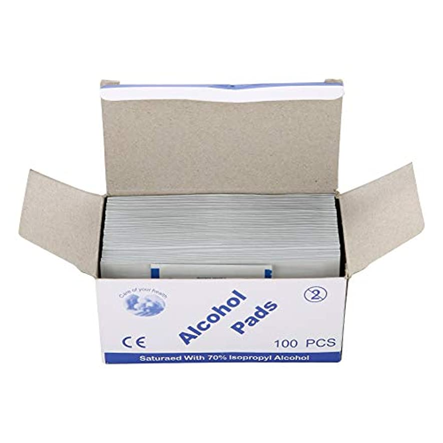 スクワイアスクレーパー団結する100個/箱使い捨てアルコール綿パッド (UnitCount : 2 box)