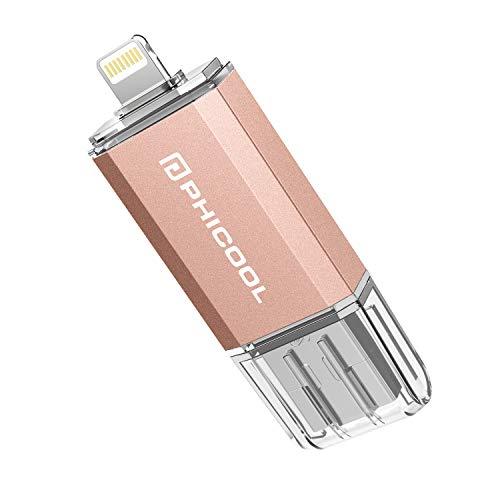 PHICOOL フラッシュドライブ USB メモリー 32GB iPhone PC Android 3in1 専用アプリ OTG Type- C 変換アダプター付属 アルミ合金製