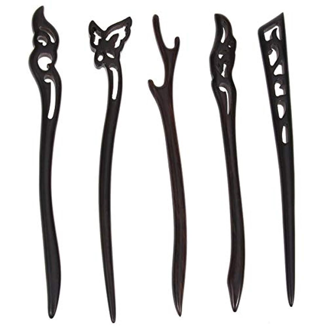 クリケット努力するソーシャルLurrose 5ピース木製ヘアスティック中国髪箸中空彫刻デザイン用女性ロングヘアスタイリング