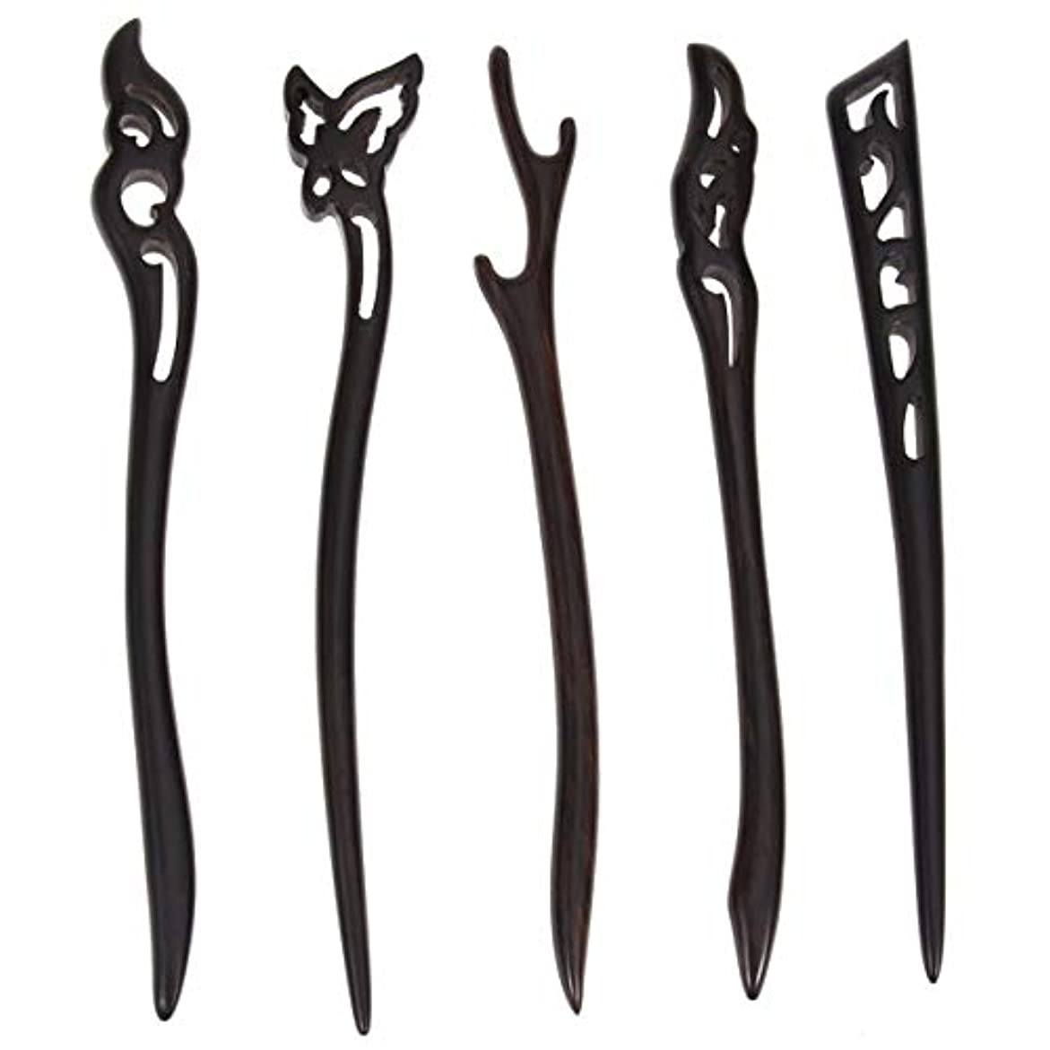 圧倒する傷つける最少Lurrose 5ピース木製ヘアスティック中国髪箸中空彫刻デザイン用女性ロングヘアスタイリング