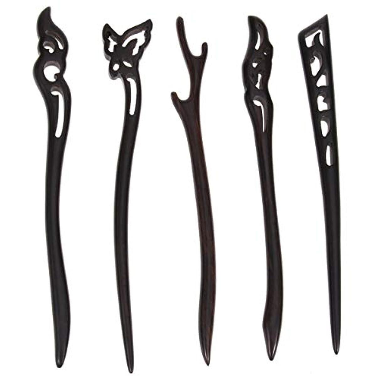 肉のブロック年金受給者Lurrose 5ピース木製ヘアスティック中国髪箸中空彫刻デザイン用女性ロングヘアスタイリング