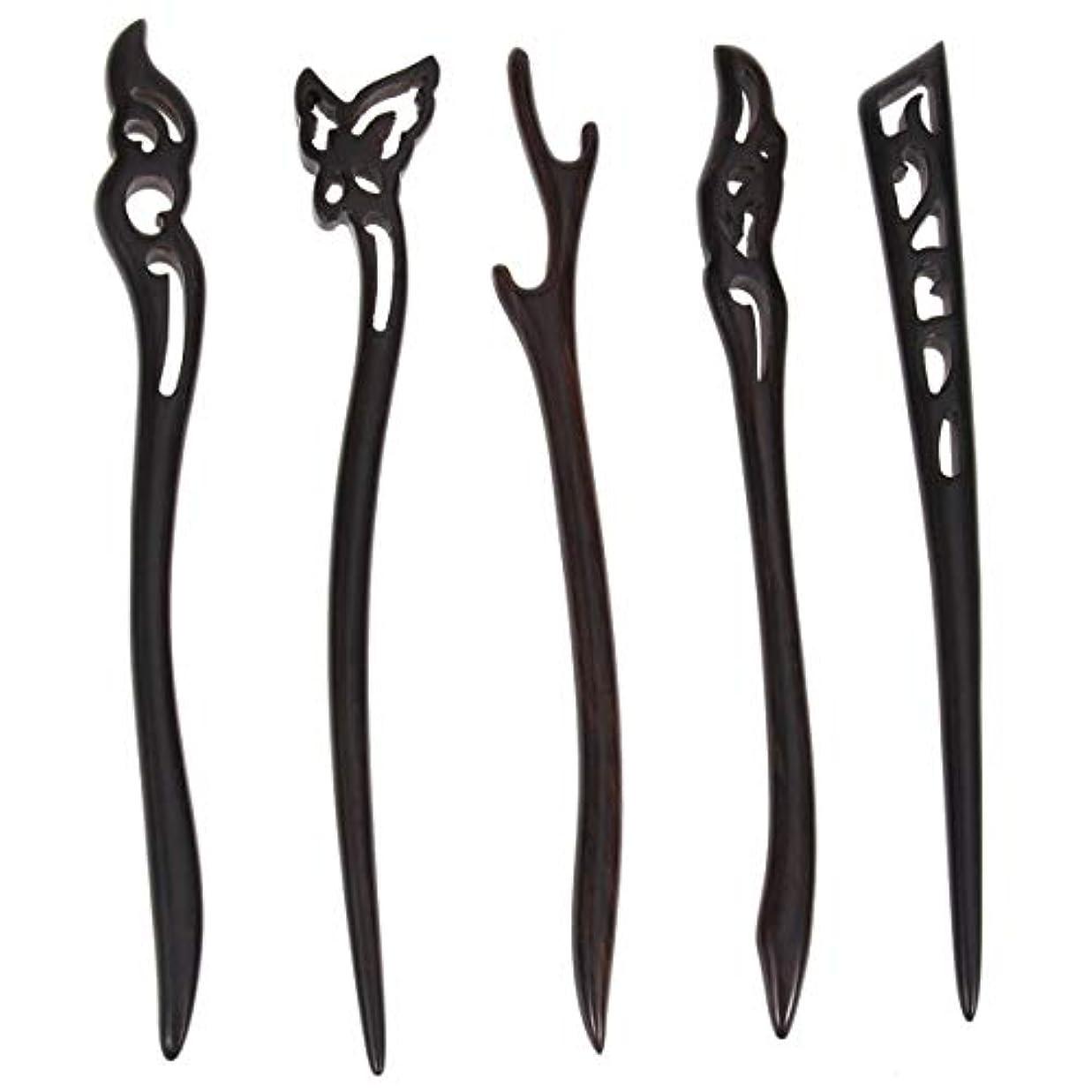 カッター禁止する彼らLurrose 5ピース木製ヘアスティック中国髪箸中空彫刻デザイン用女性ロングヘアスタイリング