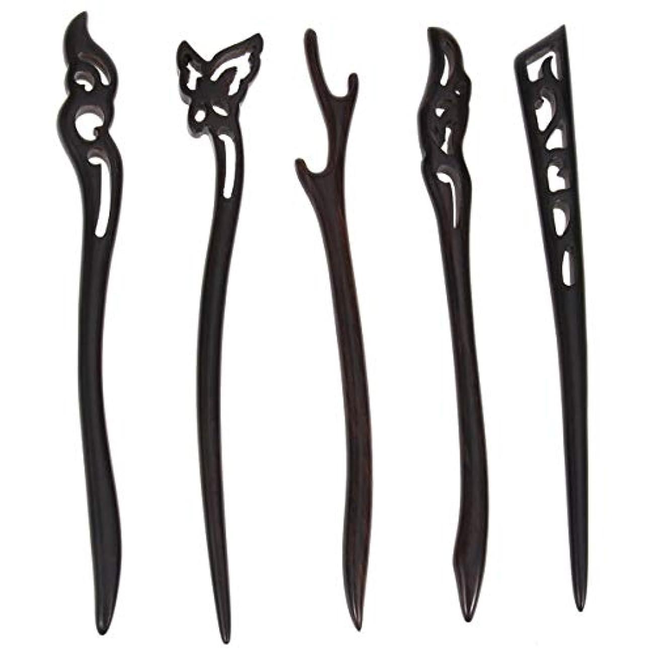 有効な傾いた炭素Lurrose 5ピース木製ヘアスティック中国髪箸中空彫刻デザイン用女性ロングヘアスタイリング