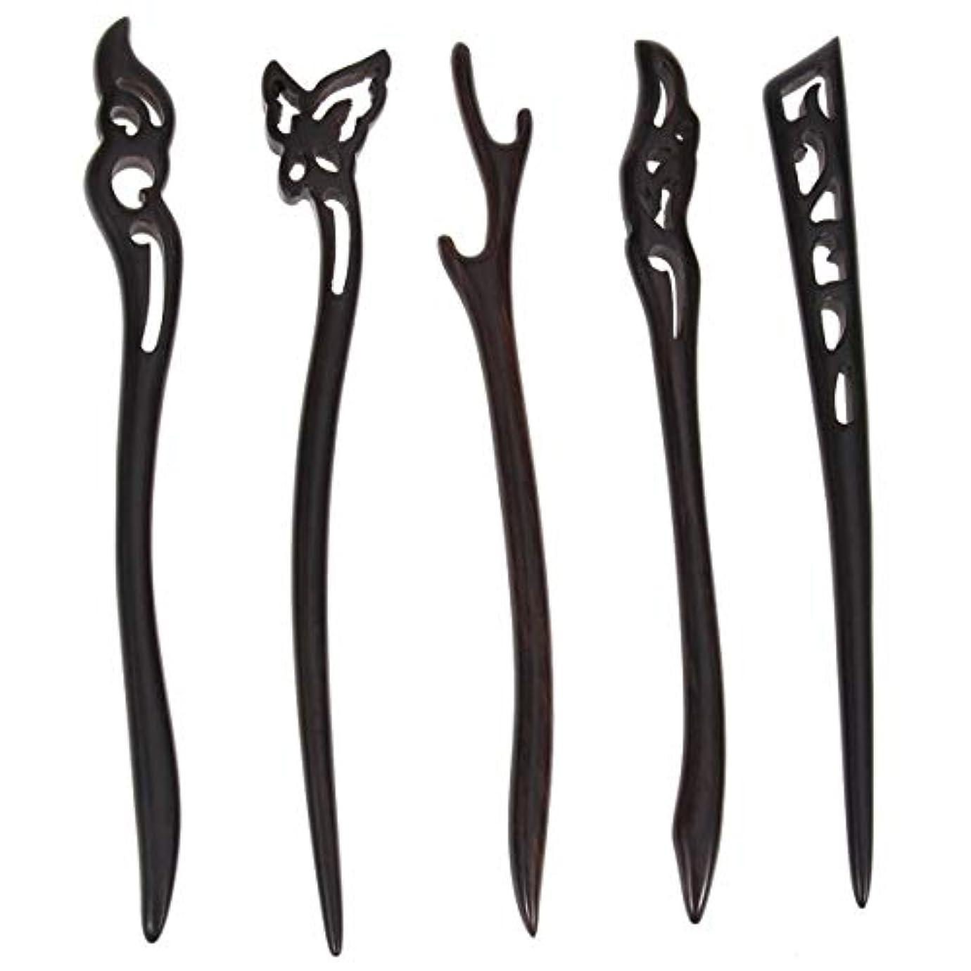 粒子同一のとしてLurrose 5ピース木製ヘアスティック中国髪箸中空彫刻デザイン用女性ロングヘアスタイリング