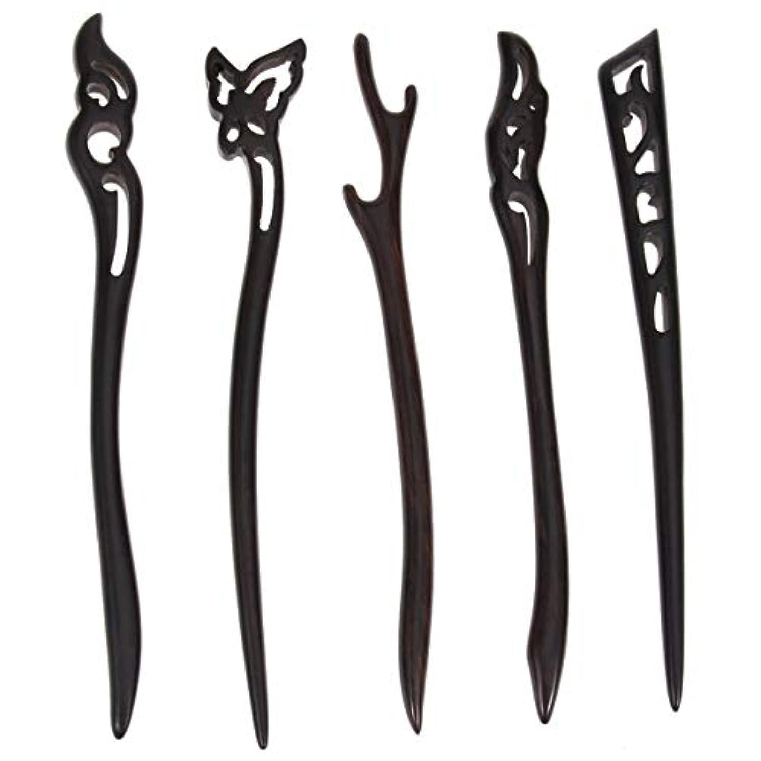 四半期勝利パンフレットLurrose 5ピース木製ヘアスティック中国髪箸中空彫刻デザイン用女性ロングヘアスタイリング
