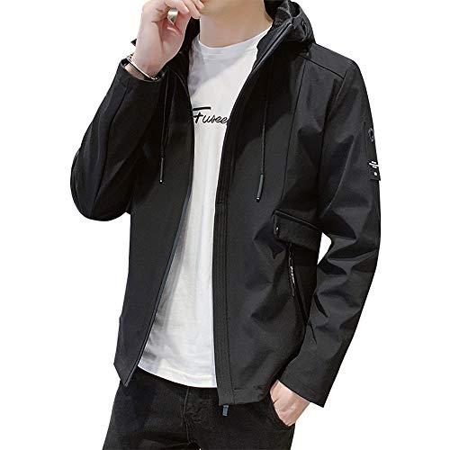 ジャケット メンズ 長袖 無地 ウインドブレーカー 春秋 フード付き アウター カジュアル 防風 軽量 大きいサイズ 黑 2XL
