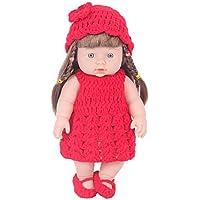 KIDDING 30cmハンドメイドセーター シミュレーション赤ちゃん 入浴人形 ソフトベビー 幼児教育 劇場 子供たち プリンセス 若い女の子 おもちゃ人形 (赤いセーターの頭髪の人形)